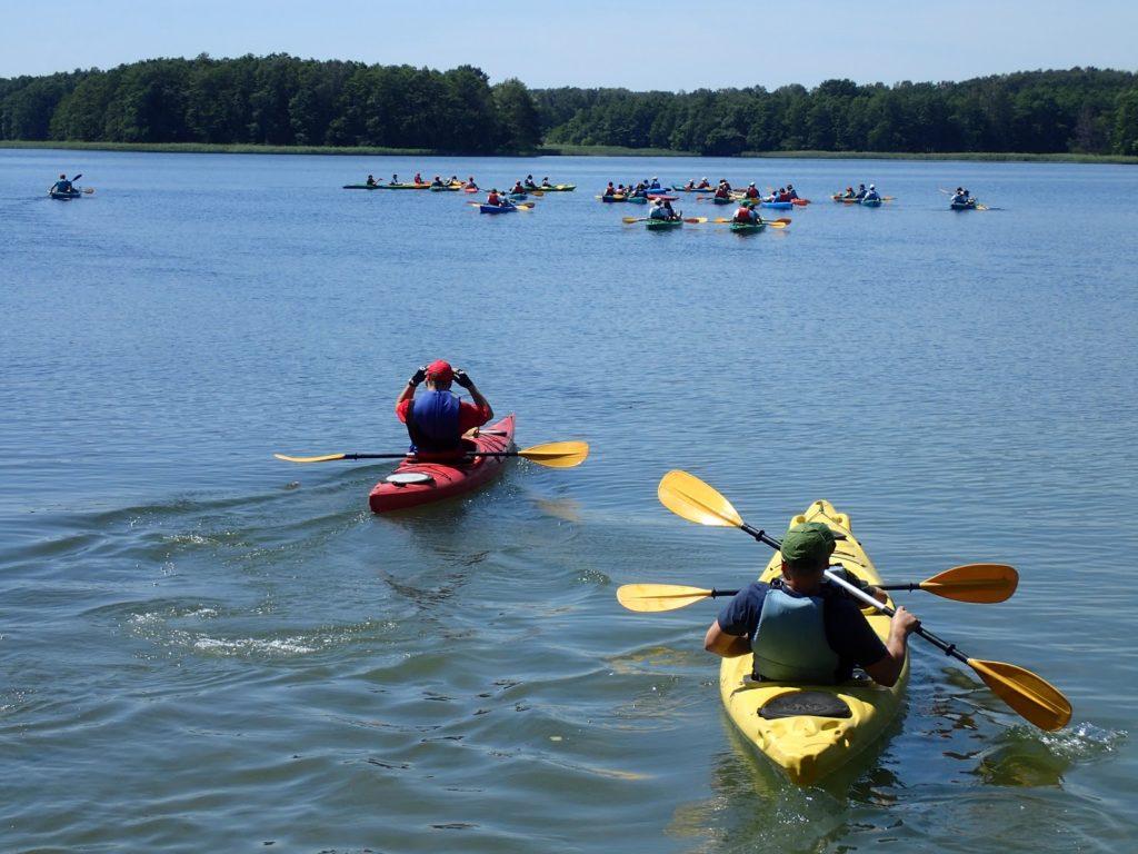 Kilkanaście kajaków płynących po jeziorze na rodzinnym spływie kajakowym.